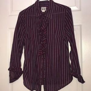 Ruffle Stripes Button Down Shirt